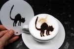 Coffee Stencil - Halloween Scary Cat