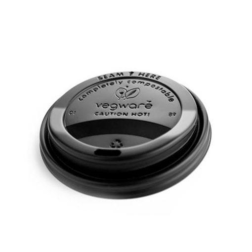 Vegware Compostable Black Lid for 12/16oz Cup (1,000)