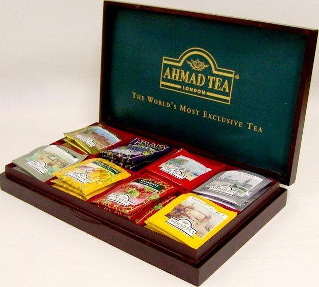 Ahmad Tea Wooden Presentation Box (8 Slot - Filled)