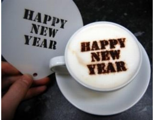 Coffee Stencil - Happy New Year