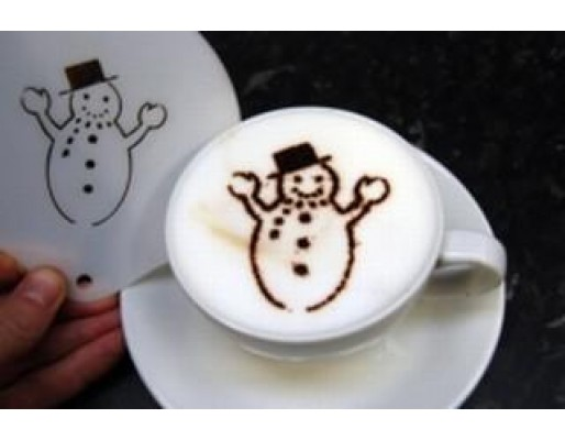 Coffee Stencil - Happy Snowman